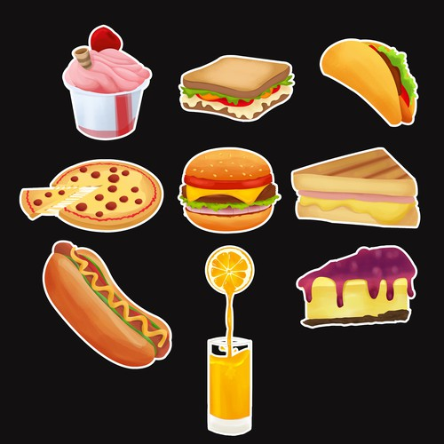 Food Items Illustration Stickers