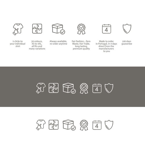 Icons showing core values of a new sustainable men's fashion brand