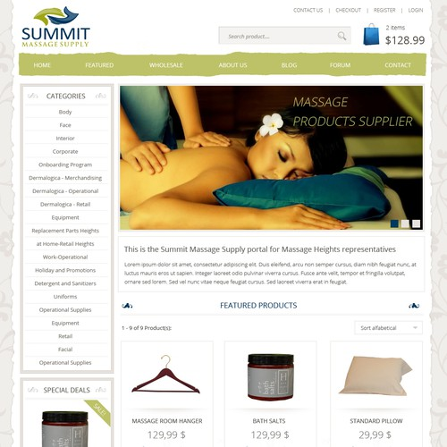 Homepage Design for Spa/Massage Supplier Company