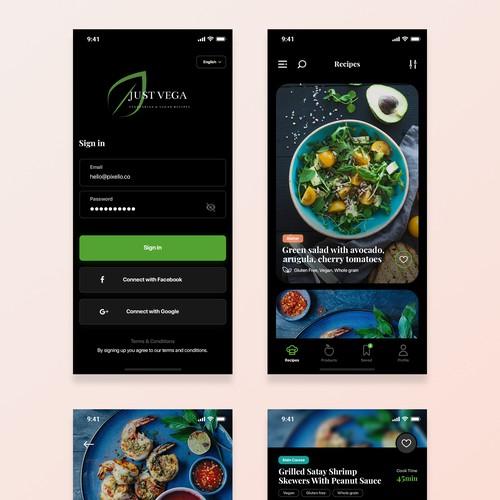 Design for a high class vegetarian & vegan recipes app