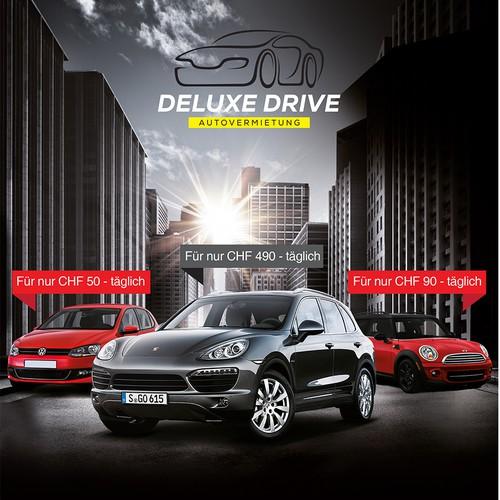 deluxe drive Flyer für Autovermietung