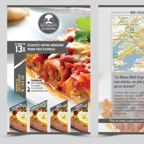 Design a Restaurant Flyer and matching outdoor banner highlighting our new lunch special.