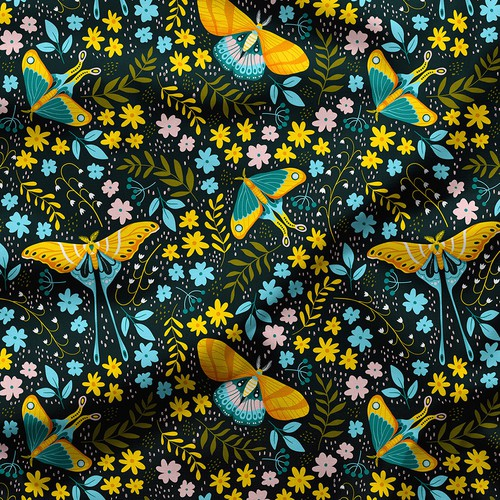 Moths garden - seamless pattern