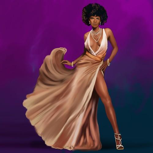 Hollywood Glam Woman Illustration