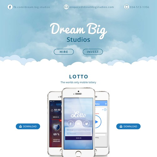 Dream Big Studio Landing Page