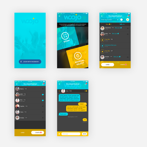 Create a mobile app design for WOOJO, a party and festival dating app.