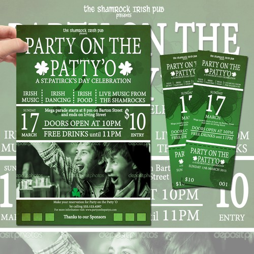 Create the next design for TicketPrinting.com St Patrick's Day POSTER & EVENT TICKET