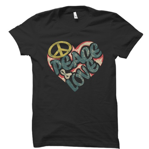 simple vintage 70s peace and love illustration