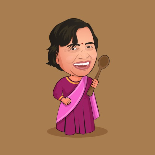Cartoon Illustration for an Indian Chef