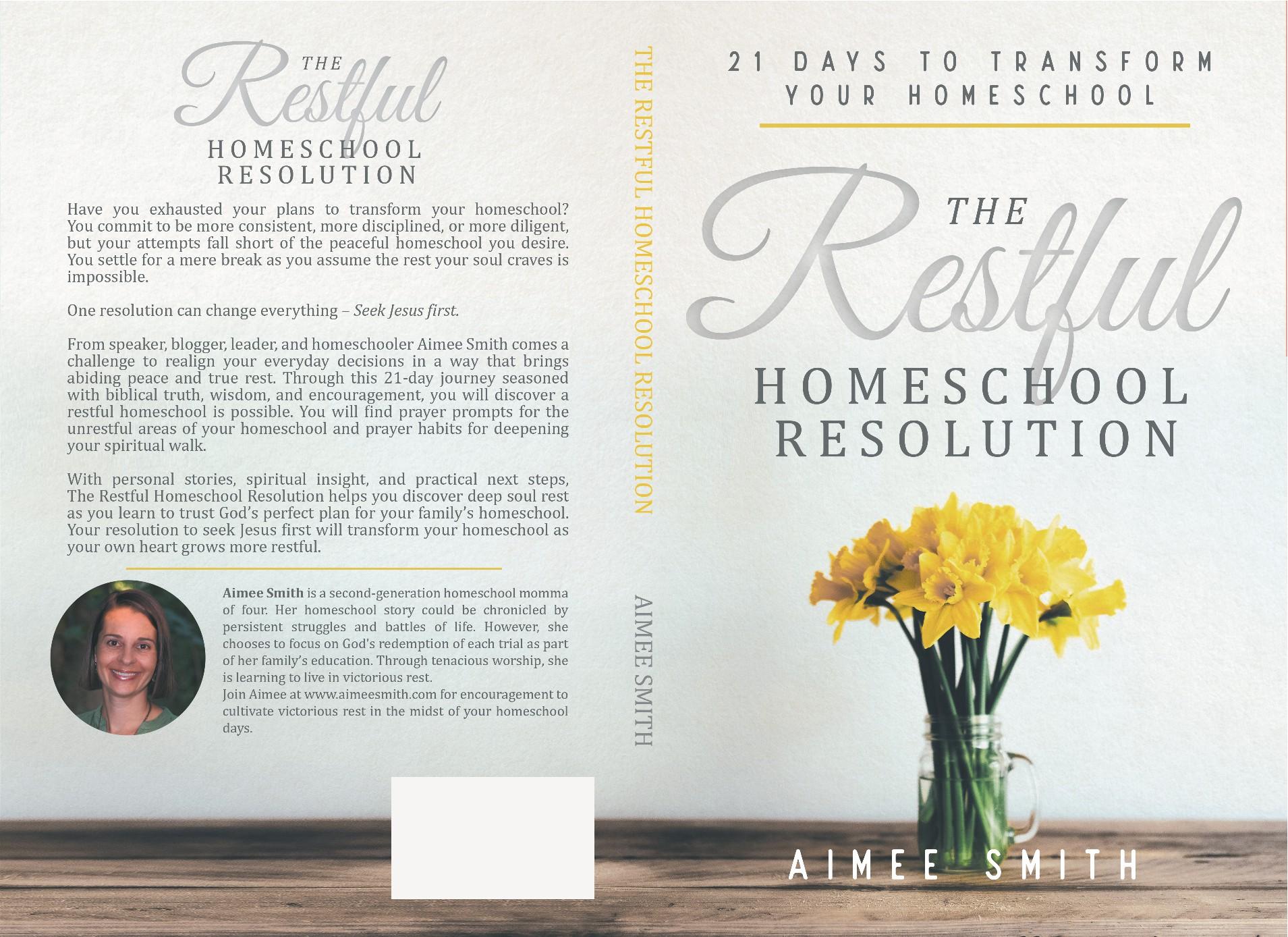 Design a restful devotion book cover for homeschool moms