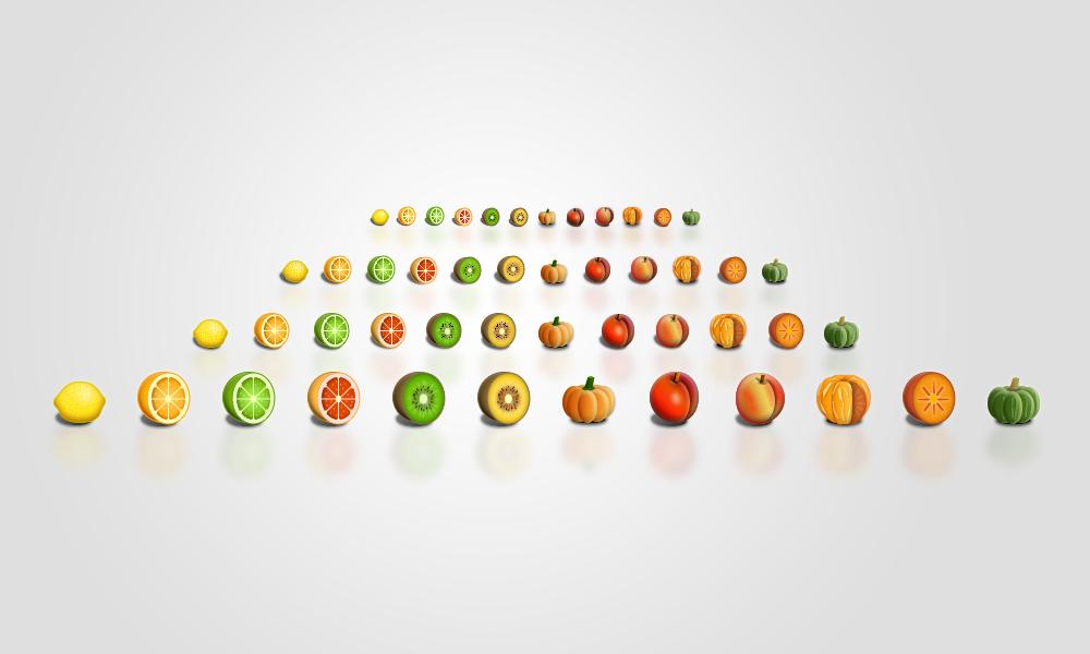 Application icon set (fruit/trees/sealife)