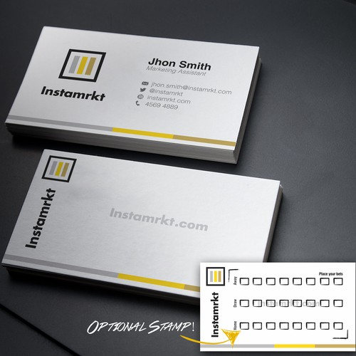 Simple, elegant, stunning business card for a new kind of sports betting