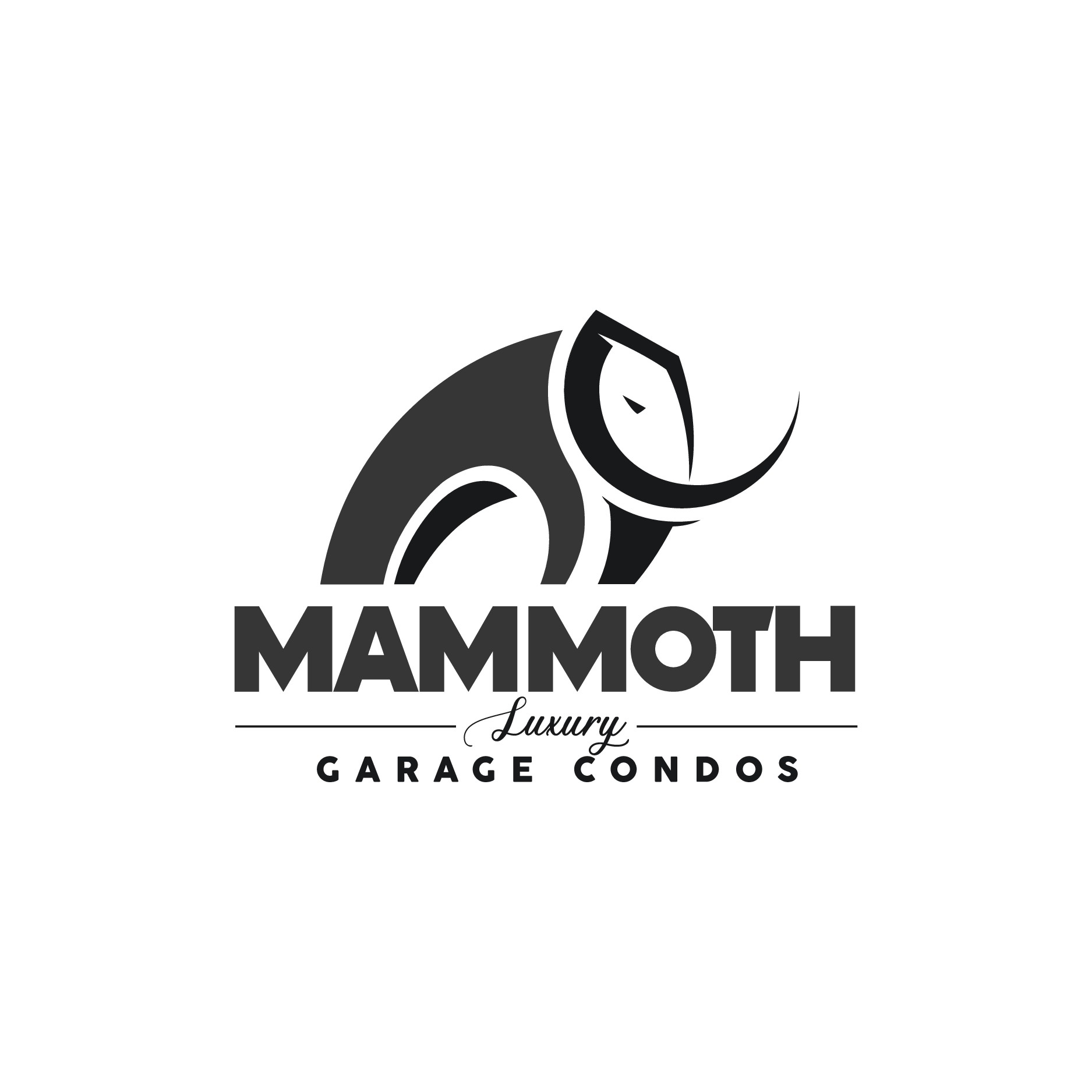 A logo for large storage units for purchase to store luxury cars, boats, RV's, etc.