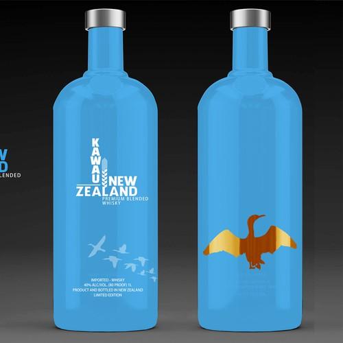 Logo and identity for Kawau New Zealand Whisky