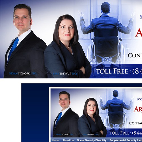 Create a professional website header for law practice