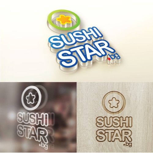 Create a POP logo and brand identity for a fast-casual SUSHI BAR and delivery