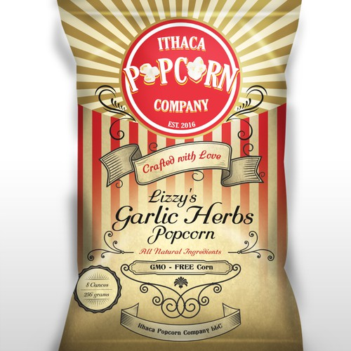 Let's Get Popping on a new Gourmet Popcorn Company's Label