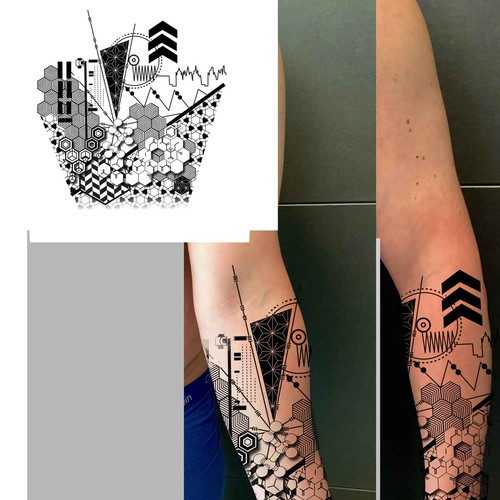 geometric-nerdy-forearm-tattoo-