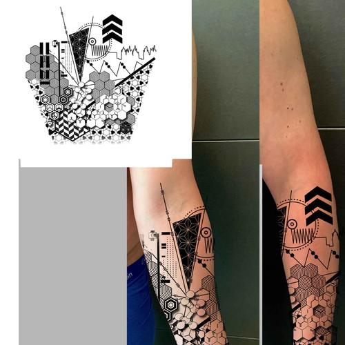 geometric-nerdy-forearm-tattoo-