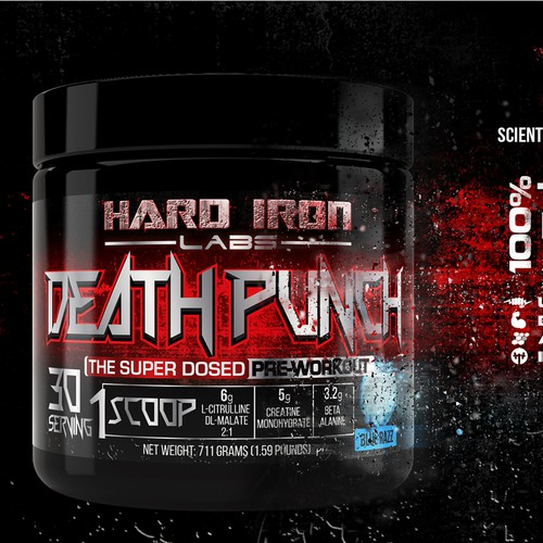 """Hard Iron Labs needs a """"Hardcore"""" Label for its Pre-Workout Supplement Bottle"""