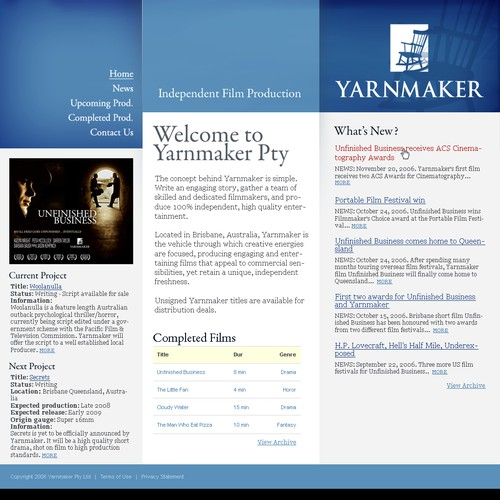 Web templates needed for multi-award winning film company
