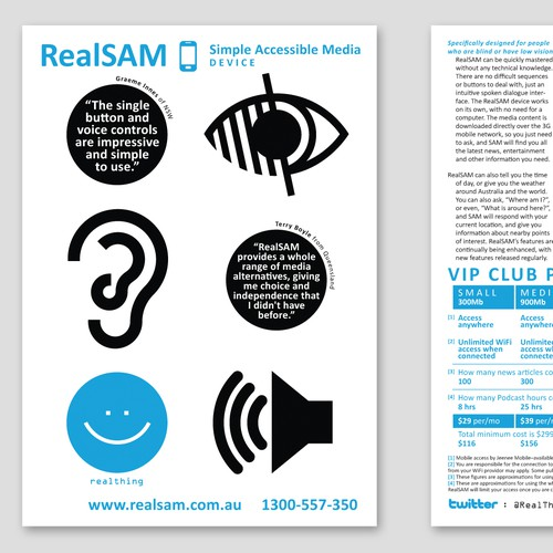 Create a flyer for an innovative speech interactive service to access media