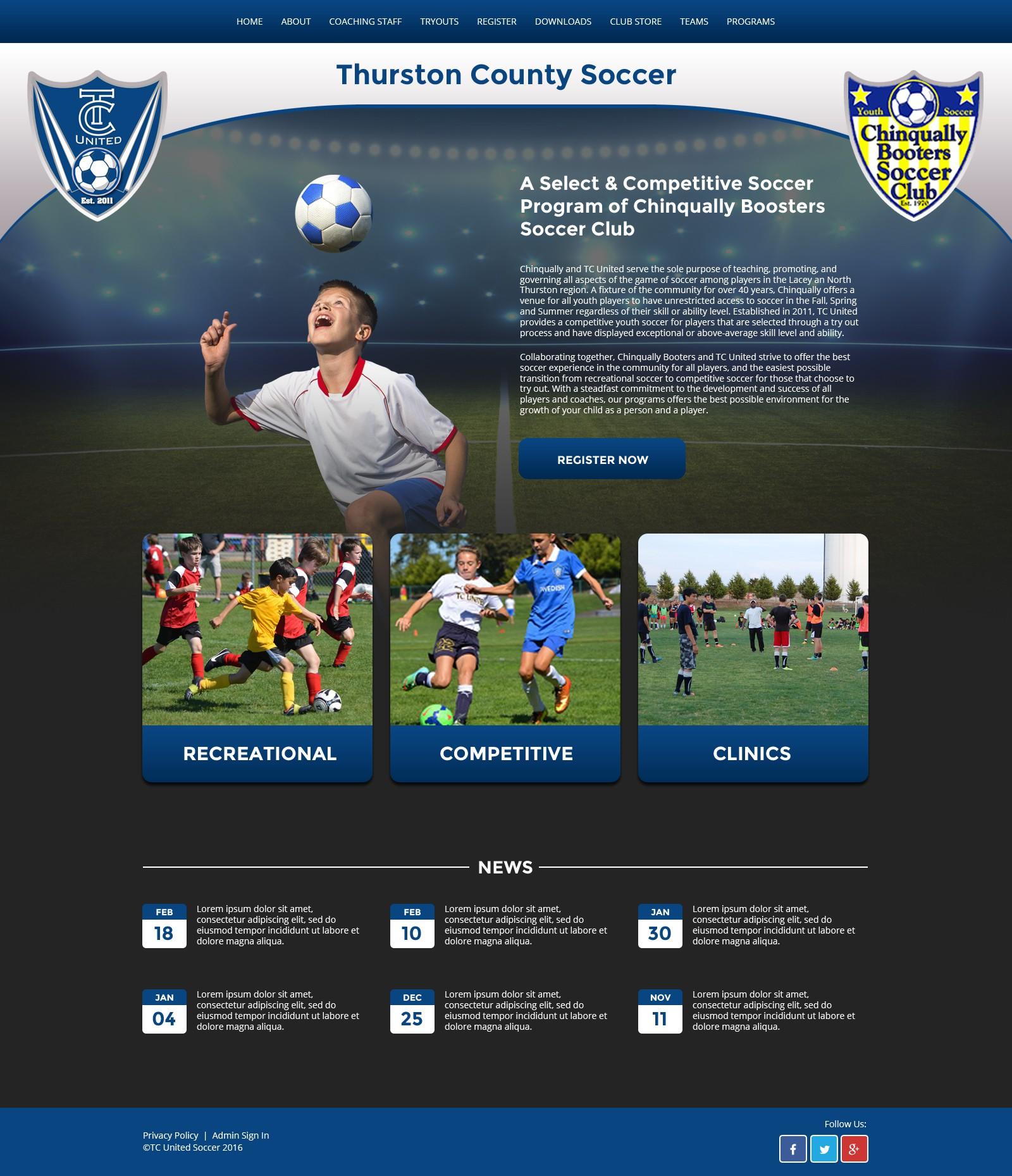 Soccer Landing Page