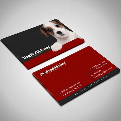 business card for dog food advisor