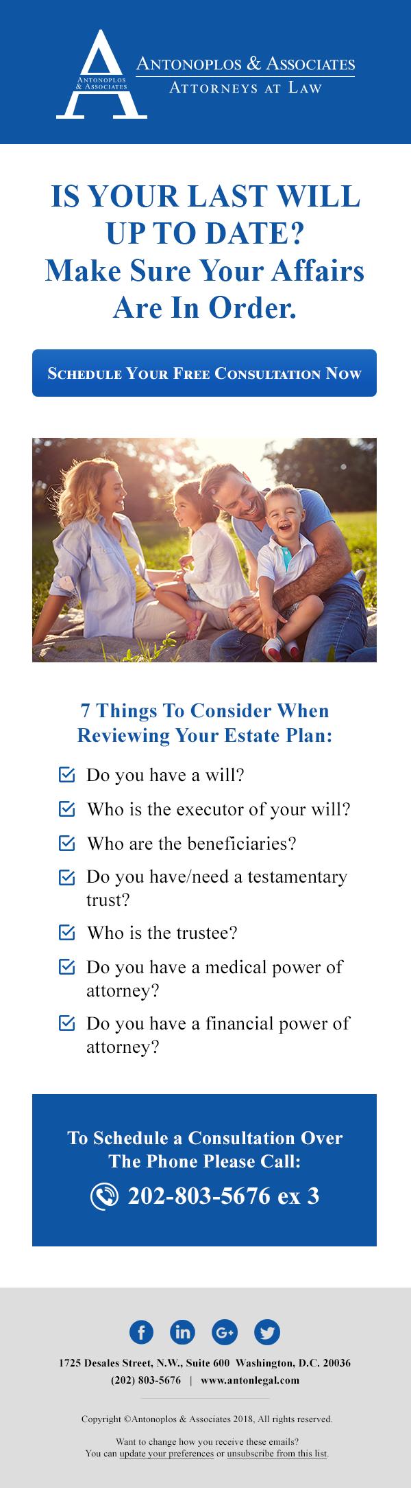 Estate Planning MailChimp Email
