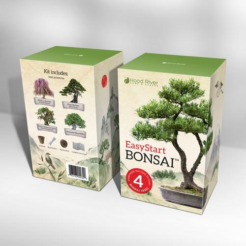Bonsai kit box design. Packaging design with custom hand drawn illustration.