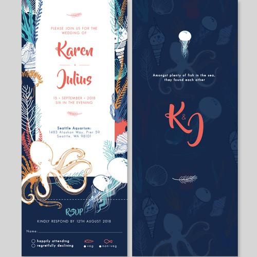 Aquarium Wedding Card