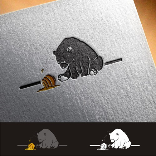 N/A - Create visual masterpiece of a black bear and honey pot