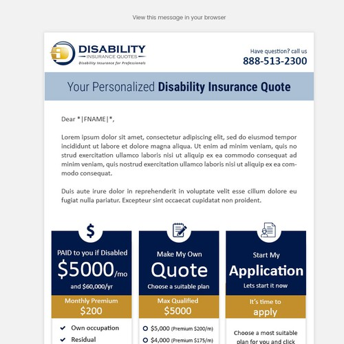 Personalized insurance quote