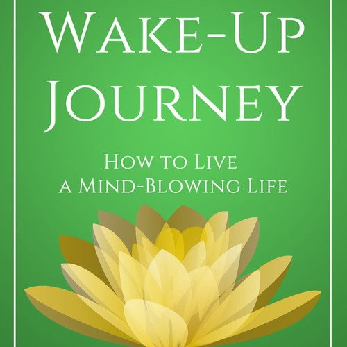 Create a minimal book cover design for The Wake-Up Journey