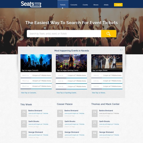Webdesign for Tickets and events concerts