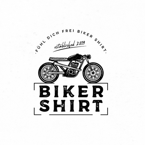 Vintage logo for a motorcycle clothing brand.