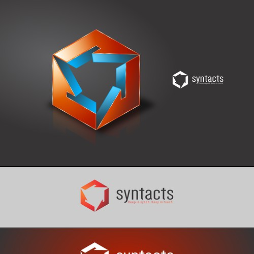 Creative Corporate Logo for contact synch app 'Syntacts'