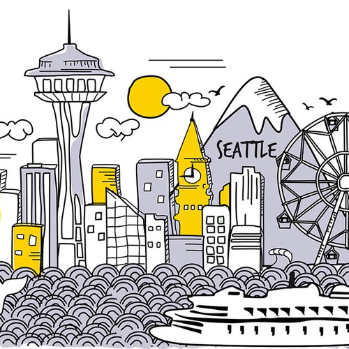A Seattle skyline in a hand sketched funky style