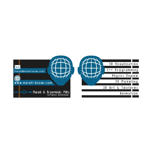 Create a business card for www.marek-knows.com