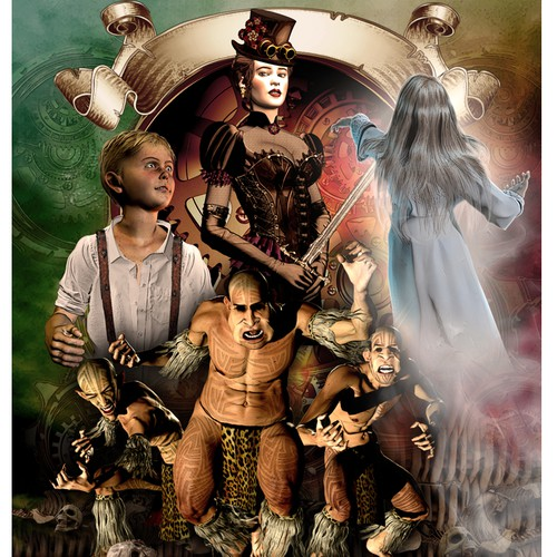Steampunk fantasy book cover
