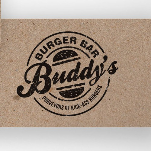 Design a simple, rustic and fun logo for a gourmet burger restaurant.