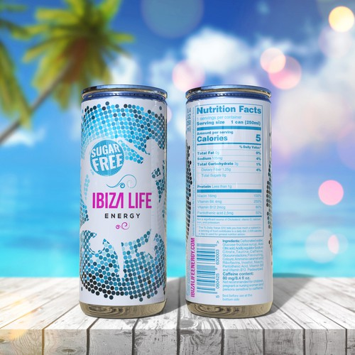 Design for Ibiza Life Sugar Free energy drink
