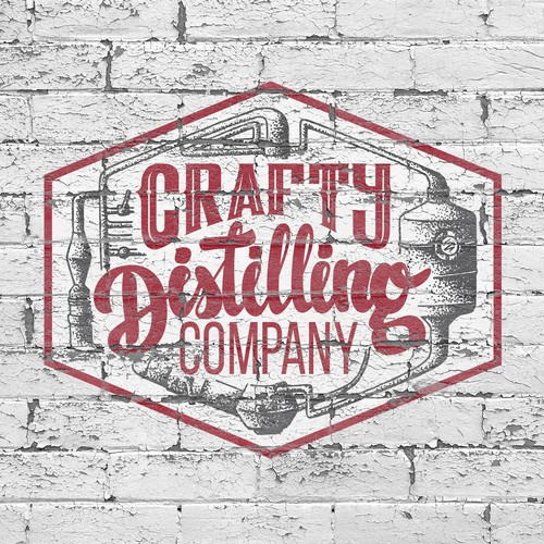 Create a capturing classic distillery illustration for Crafty Distilling Company
