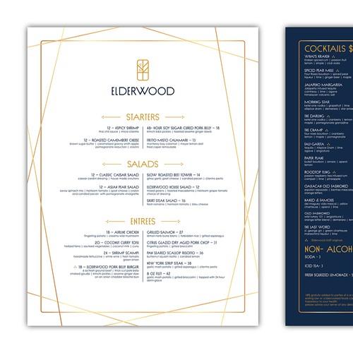 Prohibition-Era cocktail bar and restaurant menu design