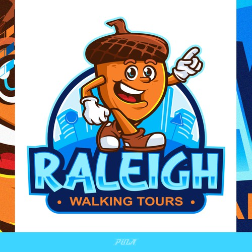 Cute cartoon acorn logo for a walking tour company