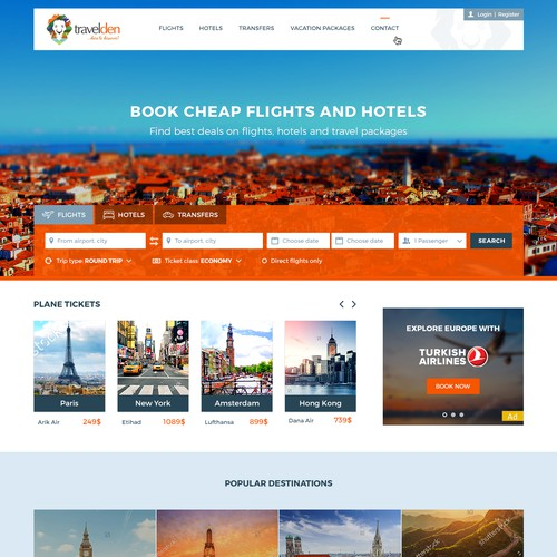 Web design for booking website