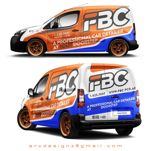 Orange and blue combination wrap for for FBC car detailers.