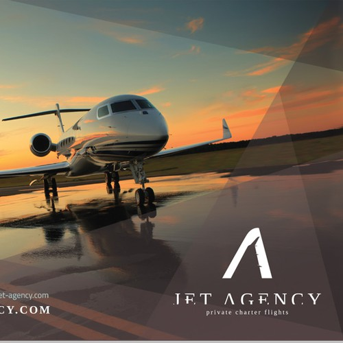 Create a brochure/ebrochure for a Private Jets company : JET AGENCY