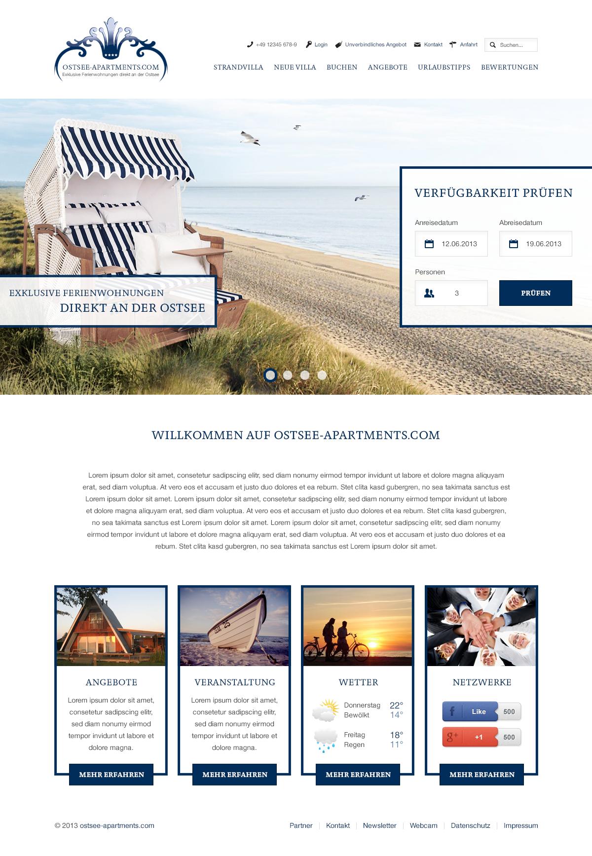 Webdesign für ostsee-apartments.com