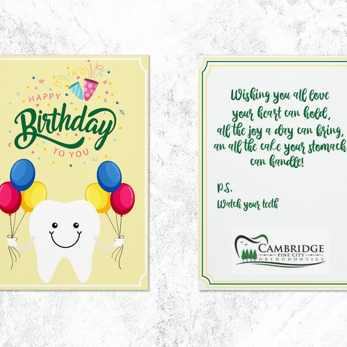 Birthday card for orthodontic patients
